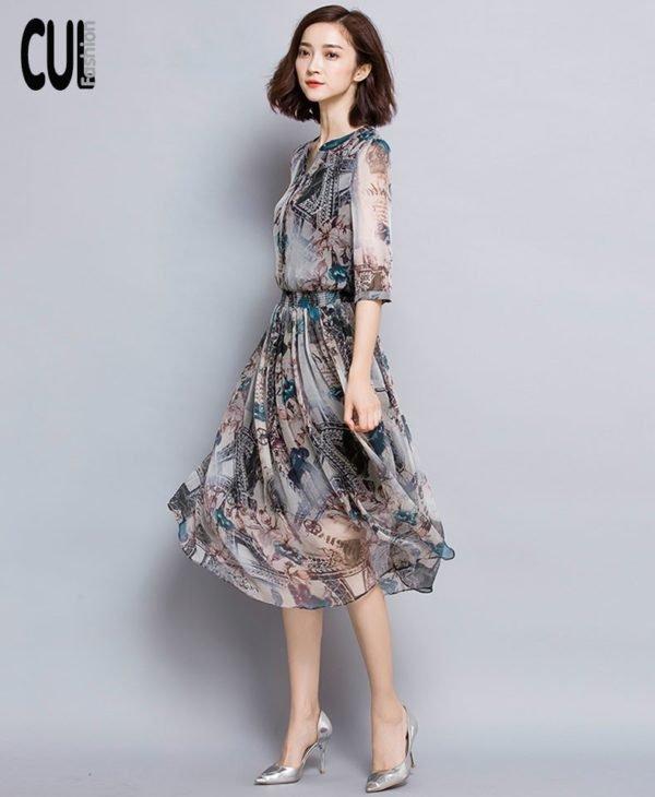 Đầm Maxi In Lụa Cao Cấp